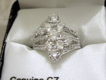 **925 Sterling Silver Diamond Shaped CZ Waterfall Ring (Size: 7)** in Conroe, Texas