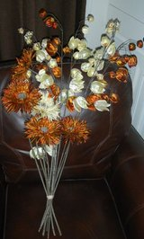 Large Silk Flowers On Stems Bunch Spider Mums & Chinese Lanterns Orange Brown Cream Golden in Kingwood, Texas