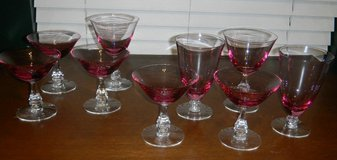 9 Vintage Pink Tinted Set of Stemmed Glasses Water Goblet Wine Sherbet Glass in Kingwood, Texas