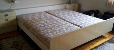 German Kingsize Bed with Closet, Vanity and 2 Nightstands Eggshell White in Ramstein, Germany