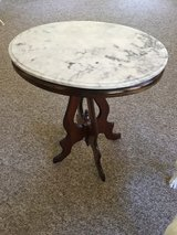 Oval, marble top side table-REDUCED PRICE! in Kingwood, Texas