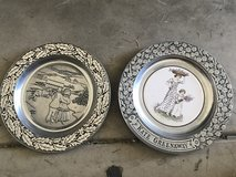 Two Full Sized Vintage Kate Greenway Pewter Plates in Naperville, Illinois