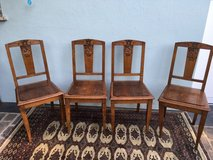 beautiful set of 4 antique solid wood chairs from France in Ramstein, Germany
