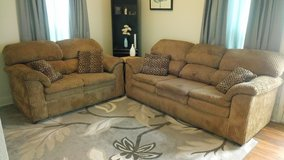 Tan overstuffed couch and loveseat in Temecula, California