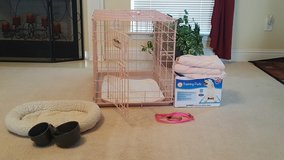 Pink Dog Cage with Accessories in Macon, Georgia