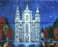 hand painted wooden canvas, water front view of the first snow fall of the season at Lds Salt ... in Fort Riley, Kansas