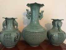 Celadon vases set of 3 in Travis AFB, California