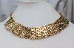 Vintage Sarah Coventry Signed Necklace Gold Tone Egyptian Revival Choker in Kingwood, Texas