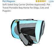 New Pet Magasin soft sided portable bag home in Yucca Valley, California