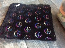 Black pillow with peace signs in Batavia, Illinois