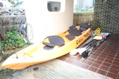 Cobra Triple Kayak boat with 3 paddles, 3 seats, anchor, 2 children's life vests, and kayak cart in Okinawa, Japan