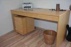 Wooden Desk with Black Office Chair and Extra Storage in Stuttgart, GE