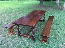 beautiful antique french solid wood table + 2 benches in Ramstein, Germany