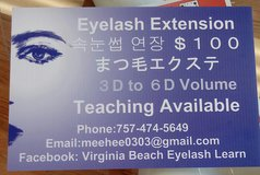Eyelash extensions individuals mink silk 1 hour in Norfolk, Virginia