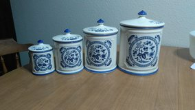 Vintage Kitchen Canisters Blue and White glass in Fairfield, California