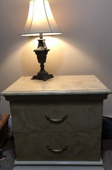 heavy faux marble nightstand plus lamp. in Birmingham, Alabama