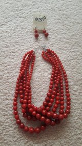 Red bead necklace and earrings in St. Charles, Illinois