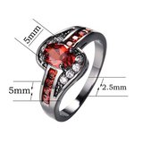 July Birthstone Ruby Ring  Black Gold Filled CZ Crystal Ring(Total Weight: 4g and Size: 6, 7, 8,... in Tampa, Florida