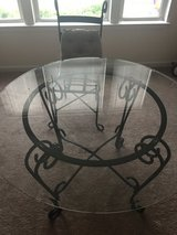 Glass Table with 4 chairs (and cushions) in Columbus, Georgia
