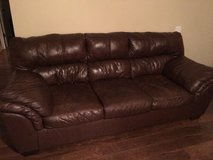 Brown Leather Couch Set - Great Condition in Fort Campbell, Kentucky