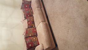 Couch & Double Seat set, tan, w/decorative pillows in Fairfield, California