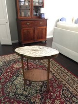 old labled french antique marble top table in Houston, Texas