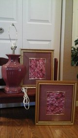 Table Lamp With  Matching Rose Petal Framed Pictures ALL FOR $3 in St. Charles, Illinois