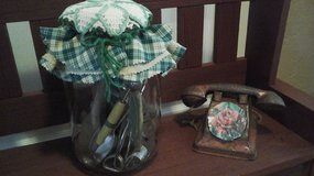 Vintage Kitchen Decor-Glass Pickle Jar Filled With Antique Kitchen Utensils-Assembled by Crafter in Joliet, Illinois