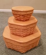 Longaberger Generations Baskets with protectors and wood lids in Aurora, Illinois