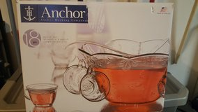Anchor 18 piece glass punch bowl set (never used) in Bolling AFB, DC