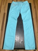 Women's Miss Me Aqua Turquoise Blue Cuffed Skinny Crop Jeans sz 27 in Fort Campbell, Kentucky