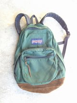 Vintage 90's Jansport Suede Leather Bottom Backpack Green USA Made in St. Charles, Illinois