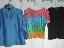 FREE:  3 Ladies Size L tops, a silk jacket and two t-shirts in Kingwood, Texas