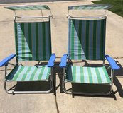 VINTAGE FOLDING ALUMINUM CANVAS LOW-PROFILE  BEACH LAWN/SAND CHAIR WITH CANOPY in Naperville, Illinois