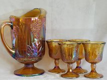 Amber Carnival Glass Pitcher and Goblets in Camp Lejeune, North Carolina