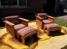 Vintage paneled craftsmen chairs and foot rests 2 sets or sold seperatly in Aurora, Illinois