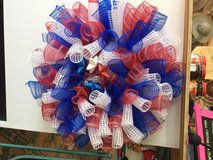 Red white and blue wreath in Fort Bragg, North Carolina