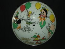 Looney Tunes Party Ceiling Light Fixture Glass Cover Warner Bros. 1986 in Aurora, Illinois
