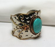 Native Southwest Silver Tone Copper Turquoise Blue Bangle Cuff Bracelet Indian Heart in Kingwood, Texas