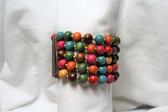 Wood Bead Pink Blue Brown Green Bead Statement Stretch Wide Bracelet in Kingwood, Texas