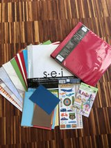 Scrapbook Album + Page Protectors + Assorted Cardstock + Stickers in Ramstein, Germany