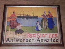 Original Lithograph of Red Star Line in Stuttgart, GE
