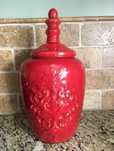 Deep Red Large Decorative Ceramic Jar in Shorewood, Illinois