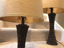 Matching wooden base table lamps in Naperville, Illinois
