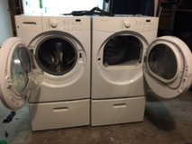 Frigidaire front load washer/dryer with pedestals in Tomball, Texas