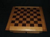 Oak Chess Board with Storage Drawer Solid Wood Hand Crafted in Chicago, Illinois