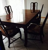 Older Wooden Table w/ Extra Leaf & 5 Chairs in Ramstein, Germany