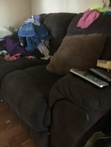 two person recliner couch micro fiber needs spot cleaning not to bad in Clarksville, Tennessee