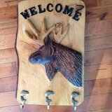 Moose welcome/coat solid wood wall decor in Yorkville, Illinois