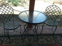 Wrought iron and glass table and 2 chairs in Alamogordo, New Mexico